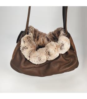 1705 Sling bag en cuir croco et fausse fourrure Marron Aloké