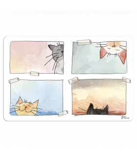 CIOE303 Set de Table Aquarelle Chat Ferribiella