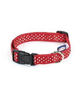 Collier en nylon reglable à pois rouge 3161 Record