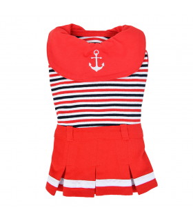 OP1814 Robe Marinière Nautical Rouge Puppia