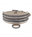 LDR011-BE Collier Levrier en Simili Cuir Beige Dangerouge Ferribiella