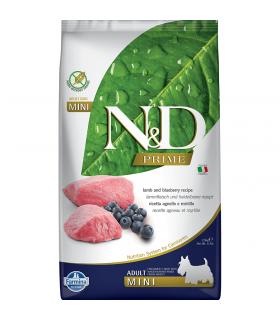 Croquettes N&D Prime sans céréales Saveur Agneau /Myrtille Adulte Mini Farmina