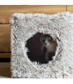 Niche pour chat Cube en fausse fourrure Chiné Grise Bobby