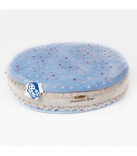 T958 Coussin Macarons Moelleux Bleu Ferribiella