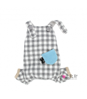 P0257-GR Jumper Pretty Pet Check Jumper Grey