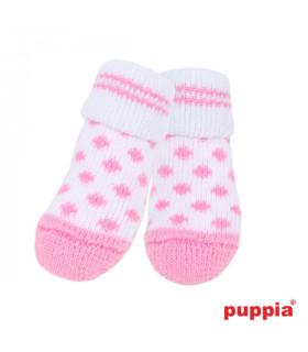 SO1175 Chaussettes Puppia Polka Dots White