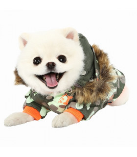 OW305 Manteau Puppy Angel Army Barmy Zip-up Parka Green 809