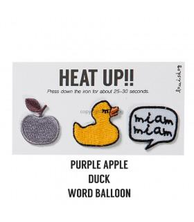 Set de 3 écussons Louisdog Mini Wappen Purple Apple