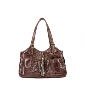 Sac de transport Simili Cuir Impression Croco Marron Petote