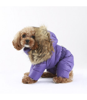 OW382 Doudoune 4 Patt Love Faux Down Padding Overalls For Girls (All cover) Puppy Angel Purple