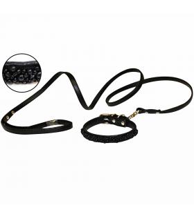 Pack de collier perle et laisse Vanity Noir Croci
