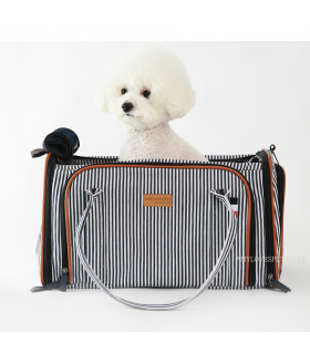 Sac de Transport 2 en 1 Avion et Voiture Stripe Navy Amyslovepet
